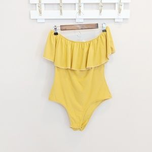 Other - Mustard Yellow Off the Shoulder Ruffle Bodysuit XL